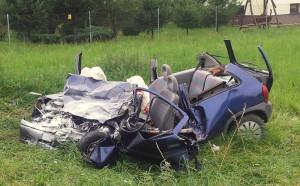Wypadek samochodowy w Kobiernicach